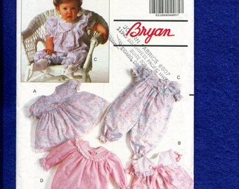 Butterick 5001 Ruffle Trimmed Baby Girl Dresses & Rompers Size Newborn S..M