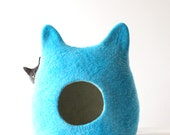 Blue cat bed - cat cave - pets bed - turquoise cat bed - made to order