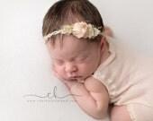 NEWBORN TIEBACK {Delsey} Newborn Headband - Newborn Photo Prop - Photography Props - Newborn Headbands - Newborn Flower Crown - Newborn Halo