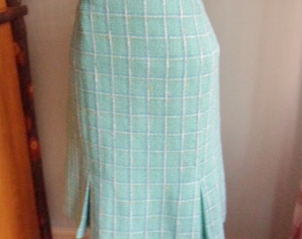 Turquoise Plaid Skirt, Size 14,  Knee Length A-Line Skirt with Kick Pleats