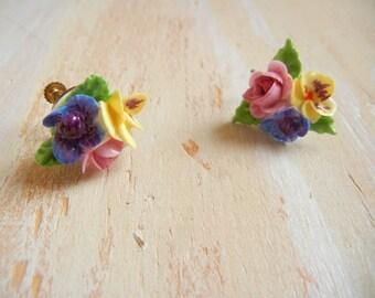 Vintage 1950's Rose Floral Earrings |  Porcelain  Flowers | Made in England