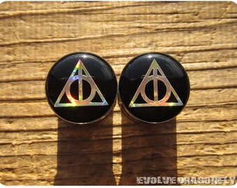 1/2 Inch, 12mm - READY TO SHIP - Deathly Hallows Plugs (Gold Rainbow) | 20% Off