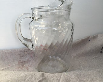 Vintage Swirl Glass Pitcher