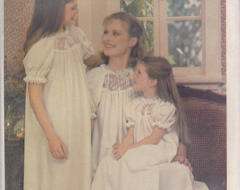 Mother & Daughter Nightgown Pattern Butterick 3430 Uncut