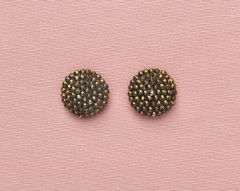 Vintage shoe button covers, 1920's flapper shoe accessory made in France, bronze colored cut steel shoe button covers