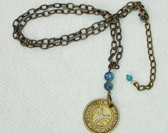 Upcycled New York City Transit Token & Blue Kyanite Gemstone Bronze Dangle Necklace
