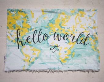 Hello World Baby Blanket, Yellow Baby Girl Blanket, Baby Girl MINKY Blanket, Faux Fur Baby Blanket, Ready to Ship Baby Blanket World Map