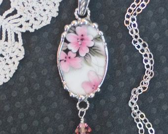 Necklace, Broken China Jewelry, Broken China Necklace, Oval China Pendant, Pink and Black Floral, Sterling Silver, Soldered Jewelry