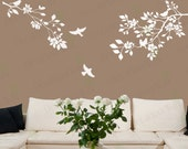 Cherry Blossom Wall Decal Large Tree Branch Nursery Living room Bedroom Office Japanese Wall Stickers Birds Flower Floral White Decals