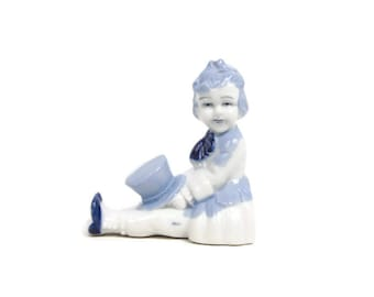 Vintage Blue and White Porcelain Boy With Top Hat Made in Japan Figurine Period Clothing
