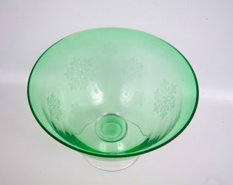 Vintage Snowflake Compote Emerald Green Crystal  Etched Frosted Snowflakes Pedestal Bowl Green Glass Serving Dish Danish Modern Era