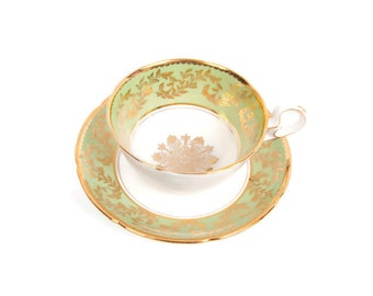 Vintage Mint Green and Gold Royal Grafton Bone China Teacup Saucer Made in England