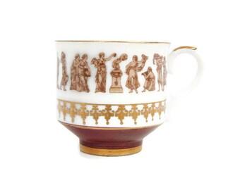Vintage Royal Crown Teacup Roman Festival Demitasse Espresso Gold and Burgundy Tea Cup Made in Japan