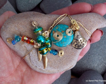 boho bird / wire wrapped & beaded stone / rock art / sea stones / turquoise / gypsy spirit / hippie / from the sea / one of a kind gifts