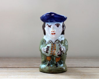 Sly French vintage toby jug pitcher / ceramic French Faience style mini vase / masculine humor pottery / collectible toby jug / gift for him