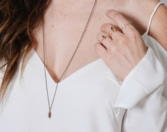 navette necklace / silvara collection / bronze faceted marquise shaped charm / long simple layering necklace