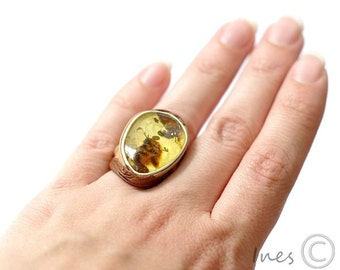 Baltic Amber Ring, Adjustable Amber Ring, Leather Ring