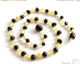 15% OFF THRU OCT Baltic Amber Baby Teething Necklace Rounded Butter and Dark Cherry Color Beads