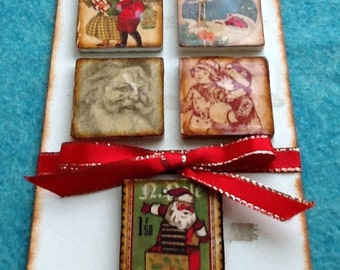 Altered Tile Embellishments, Ceramic Tile Mixed Media, Scrapbook Tiles, Altered Ceramic Tile Samples, Christmas Tile Embellishments