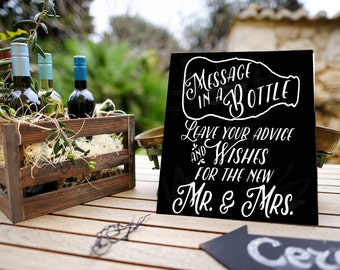Message in a Bottle Decal, Guest Book Sign, Nautical Wedding Decor, Wine Theme Wedding Sign, DIY Wedding Craft, Vinyl Wedding Sticker