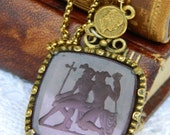 AMETHYST INTAGLIO PENDANT vintage jewelry repurposed assemblage necklace coin gold