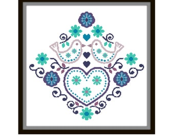 Folk Art Cross Stitch Pattern - Scandinavian Cross Stitch Pdf - Floral Cross Stitch Pattern - Bird Cross Stitch Patt