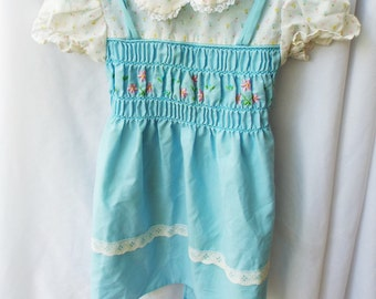 Mayfair Vintage Pinafore Smocked and Embroidered Dress Vintage 18-24 Months