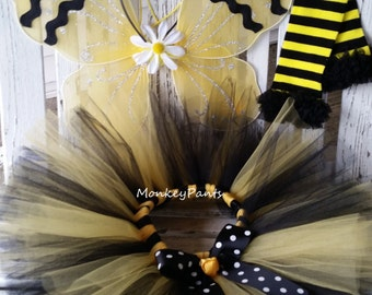 Bumble Bee Costume  - Baby Girls Halloween Costume - Girls Bumble Bee Tutu - Bee Party - Black and Yellow Tutu - Bumble Bee Wings