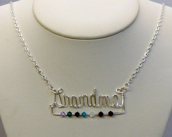 Grandmother/Mother wire written name necklace with birthstones