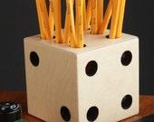 Handmade Dice Pen & Pencil Holder - Made in Detroit, USA - Desk Organization - Office Supplies  - School Work Home - Storage Supply - Lucky