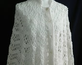 Vintage Hand Made Crocheted White Poncho