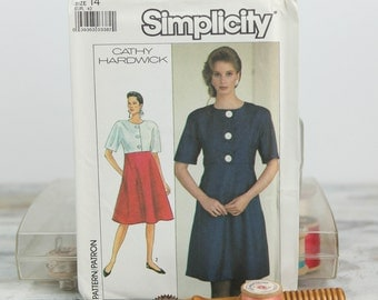 Misses Size 14, Empire waist flared dress, Simplicity (8420) Vintage 1980s Sewing Pattern