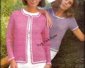 No.457 Crochet Pattern Women's Matching Pullover Tee & Cardigan Sweater - PDF Vintage Pattern 1970's Retro Crochet Pattern