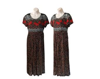 90s Floral Dress Animal Print Dress Leopard Print Dress Rose Print Dress Unique Dress 90s Black Dress 90s Babydoll Dress Baby Doll Dress