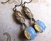 Gothic Opal Earrings Fire Opal Earrings Art Deco Earrings Art Nouveau Earrings Filigree Earrings Moonstone Earrings 1920s Earrings- Romance