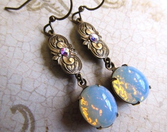 Gothic Opal Earrings Fire Opal Earrings Art Deco Earrings Art Nouveau Earrings Filigree Earrings Moonstone Earrings 1920s Earrings- Romance