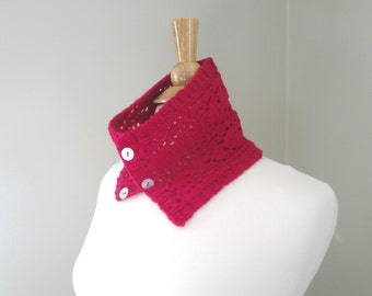 Neck Warmer Cowl, Merino Wool, Magenta Pink, Hand Knit, Lace Scarf, Gift For Her