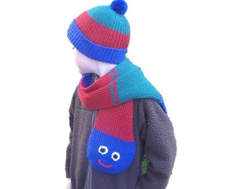 Caterpillar Scarf and Hat for Boys, Striped Scarf, Pom Pom Beanie Cap, Smily Face, Knit, Red Blue Green