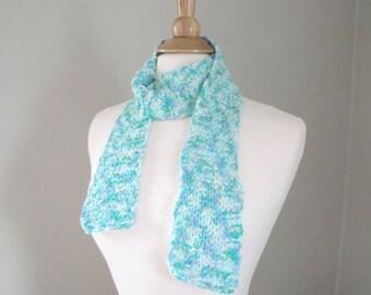 Short Knit Scarf, Tropical Blue Green Aqua, Thin Fashion Scarf, Summer, Women Teen Girls
