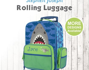 Shark Rolling Luggage, Stephen Joseph Kids Luggage, Personalized Children's Suitcase, Embroidered Name, Travel Suitcase for kids, shark