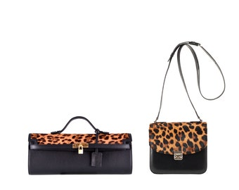 Leopard ponyhair leather clutch Eniko, ELISA // black (italian calf leather) - FREE shipping
