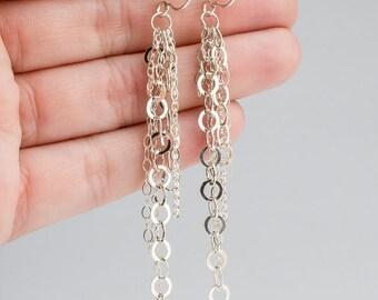 """Long Sterling Silver tassel chain earrings - Shoulder dusters, Tassel earrings - super long earrings chain earrings - """"Fringe 6"""""""
