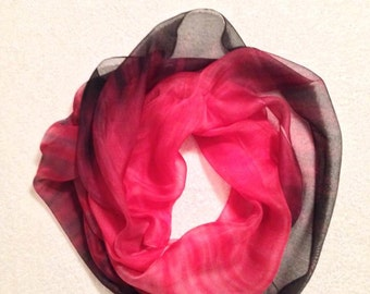 Hand Painted Silk Scarf Shibori in Black and Red shades#1