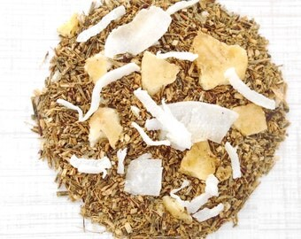 Herbal Tea, BANANA COCONUT, Organic,  Loose Leaf Green Rooibos, Tropical Fruit, Hand Blended, Caffeine Free, 2oz Eco Box, Tea Gift Idea