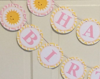 You Are My SUNSHINE Happy Birthday or Baby Shower Party Banner Yellow Light Pink Chevron