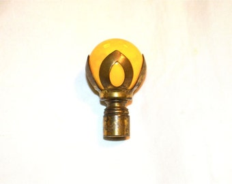 Vintage Lamp Finial Yellow Ceramic Ball