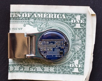 Money clip - geeky money clip - gift for him - recycled circuit board - gift for men, groomsmen gift