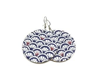 Japanese Chiyogami Earrings, Wave Pattern, Indigo, Aizome, Japanese, Yuzen, Large Dangles, Made to order, Lasercut, Resin, Pattern varies