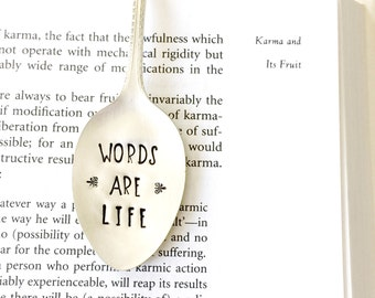 Spoon Book Mark. Words are Life. Stamped Spoon Bookmark. Reader Gift Idea. Book Club Gifts. 2016 Milk & Honey ® Design