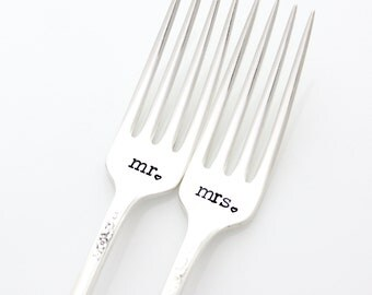 Mr. Mrs. wedding forks. Stamped silverware for engagement gift. As featured by Martha Stewart Weddings.